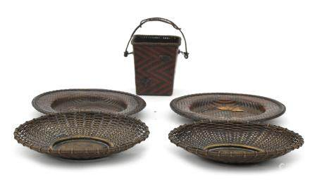 Four Japanese copper Ikebana wickerwork coasters and a basket, circa 1900.