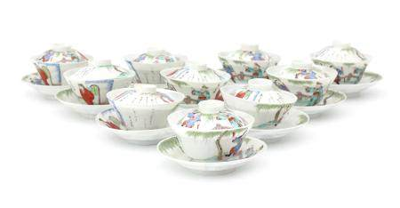 Ten Japanese porcelain cup- and saucers with lids, early 20th century.