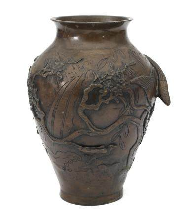 A Japanese bronze vase with relief decoration of Cranes and Eagle, Meiji-period