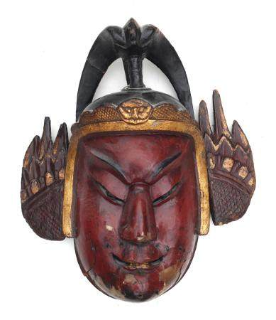 A red lacquer mask 'general'. Meiji (1868-1912)