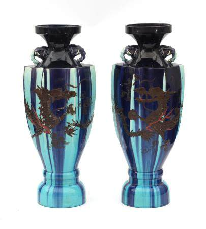 A pair of blue Japanese ornamental vases, first half 20th century.