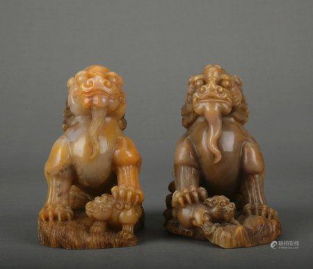 A pair of Shou shan stone lion