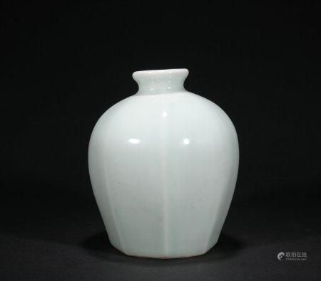 A celadon-glazed bottle