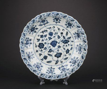 A blue and white 'floral' plate