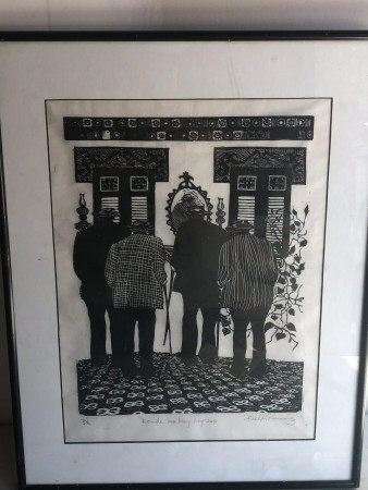 WOODPRINT ON PAPER SIGNED