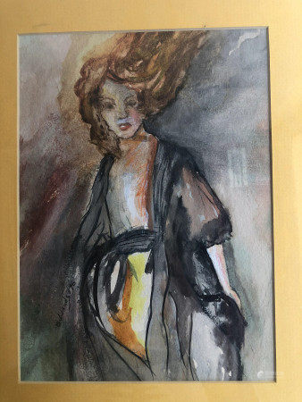 WATERCOLOR ON PAPER OF LADY SIGNED