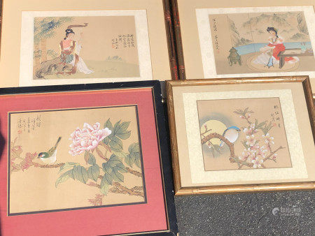 FOUR FRAMED CHINESE PAINTING