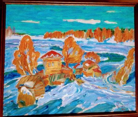 VIKTOR SMIRNOV (1931-) LANDSCAPE OIL ON CANVAS
