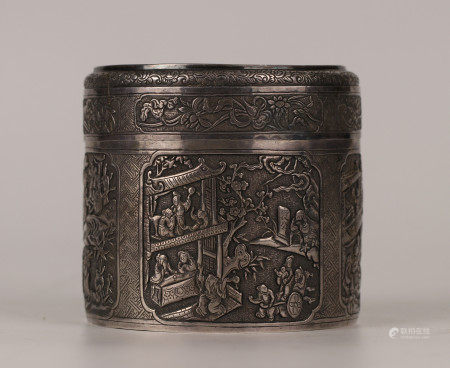 CHINESE SILVER FIGURES AND STORY LIDDED BOX