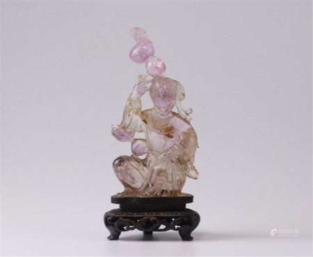 CHINESE PURPLE ROCK CRYSTAL SEATED LADY TABLE ITEM