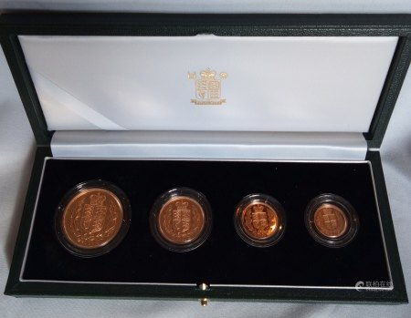 A 22CT GOLD FOUR COIN SOVEREIGN PROOF SET, DATED 2002 Comprising a half sovereign, full sovereign, two pound and five pound coins, in protective capsules and fitted green leather box, complete with certificate of authenticity.  (approx total weight 67.88g)  Condition: good overall, outer cardboard cover with slight wear