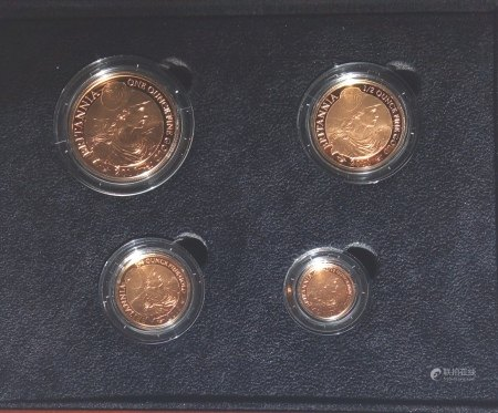A 22CT GOLD FOUR COIN PROOF SET, DATED 2010  Comprising a one hundred pound coin, fifty pound coin, twenty-five pound coin and ten pound coin, in protective capsules and fitted wooden box, complete with certificate of authenticity.  (approx total weight 63g)  Condition: good overall, outer cardboard cover with slight wear