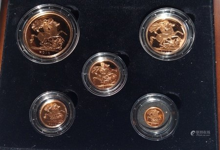 A 22CT GOLD FIVE COIN PROOF SET, DATED 2010 Comprising a five pound coin, double sovereign, sovereign, half sovereign and quarter sovereign coin, in protective capsules and fitted wooden box, complete with certificate of authenticity.  (approx total weight 69.87g)  Condition: good overall, outer cardboard cover with slight wear