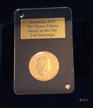 A 22CT GOLD FULL SOVEREIGN PROOF COIN, DATED 2020, THE FLAMES EDITION In a protective capsule and fitted wooden box.  (approx total weight 8g)  Condition: good overall, outer cardboard cover with slight wear