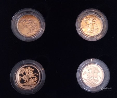 A 22CT GOLD FOUR FULL SOVEREIGN COIN SET, THE QUEEN ELIZABETH PORTRAIT COLLECTION, DATED MARK GILLICK, 1953, ARNOLD MACHIN, 1968 RAPHAEL MAKLOUF, 1985 AND IAN RANK-BROADLEY, 1998 In protective capsules and fitted wooden box, complete with certificate of authenticity.  (approx total weight 32g)  Condition: good overall, outer cardboard cover with slight wear