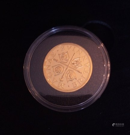 A 24CT GOLD 1/2OZ 'BREXIT' COMMEMORATIVE PROOF COIN, DATED JANUARY 2020  Heraldic Symbols of Great Britain, Houses of Parliament, in a protective capsule and fitted wooden box, complete with certificate of authenticity. (approx total weight 16g)  Condition: good overall, slight wear to outer cardboard box