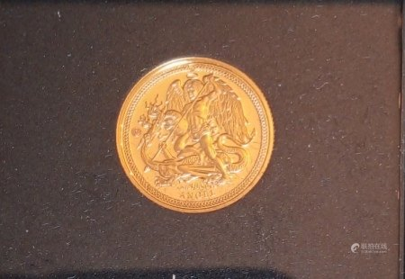 A 24CT GOLD 1/10 OZ ISLE OF MAN ANGEL PROOF COIN, DATED 2019  In a protective capsule and fitted wooden box, complete with certificate of authenticity.  (approx total weight 3.11g)  Condition: good overall, slight wear to outer cardboard box