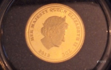 A 22CT GOLD QUEEN ELIZABETH AND THE LION QUARTER SOVEREIGN PROOF COIN, DATED 2012 In a protective capsule, fitted wooden box, complete with certificate of authenticity. (approx total weight 2g)  Condition: good overall, slight wear to outer cardboard box
