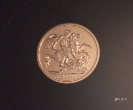 A 22CT GOLD SOVEREIGN  'BREXIT' PROOF COIN, DATED 2020, BREXIT FULL SOVEREIGN DATE STAMP  In a protective capsule and fitted wooden box, complete with certificate of authenticity. (approx total weight 8g)  Condition: good overall, slight wear to outer cardboard box