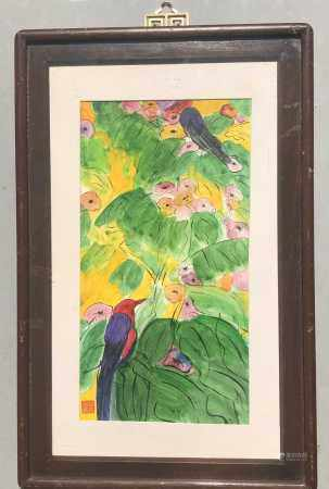 WALASSE TING 1928-2010 ACRYLIC ON PAPER BIRD AND FLOWER