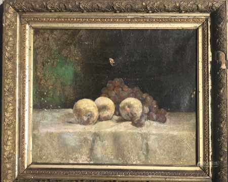 19TH CENTURY OIL PAINTING ON CANVAS OF STILL LIFE