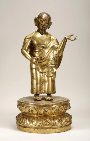 明 铜鎏金罗汉像