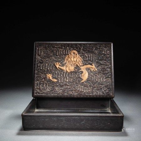 CHINESE RED SANDALWOOD DRAGON PATTERN SQUARE BOX, QING DYNASTY
