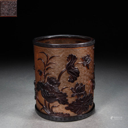 COLORED GLAZE PEN HOLDER, QING DYNASTY, CHINA