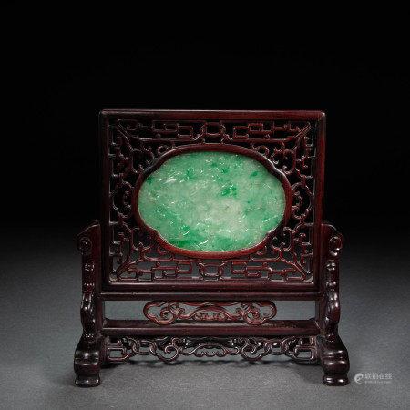 CHINESE QING DYNASTY MAHOGANY INLAID JADE SCREEN