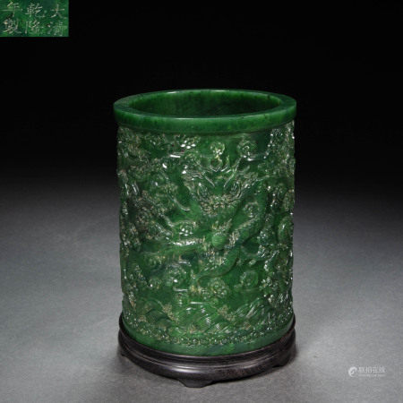 HETIAN GREEN JADE DRAGON PEN HOLDER, QING DYNASTY, CHINA