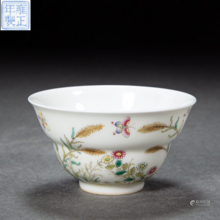 FAMILLE ROSE TEACUP, QING DYNASTY, CHINA