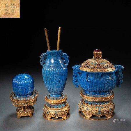 SET(3) OF CHINESE QING DYNASTY LAPIS LAZULI FURNACE, BOTTLE, BOX