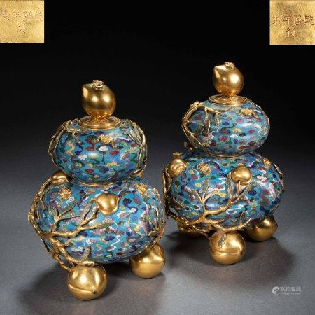 A PAIR OF CHINESE QING DYNASTY BRONZE GILT CLOISONNÉ ENAMEL GOURD VASES