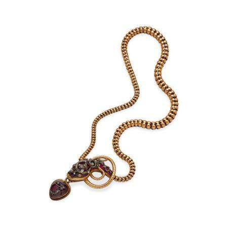 A 19TH CENTURY GARNET AND DIAMOND SERPENT NECKLACE