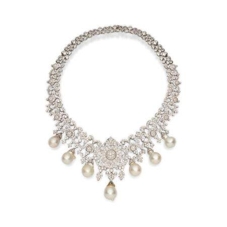 A CULTURED PEARL AND DIAMOND NECKLACE, TOGETHER WITH A PAIR OF MATCHING EARRINGS