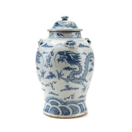 Vaso in porcellana bianca e blu