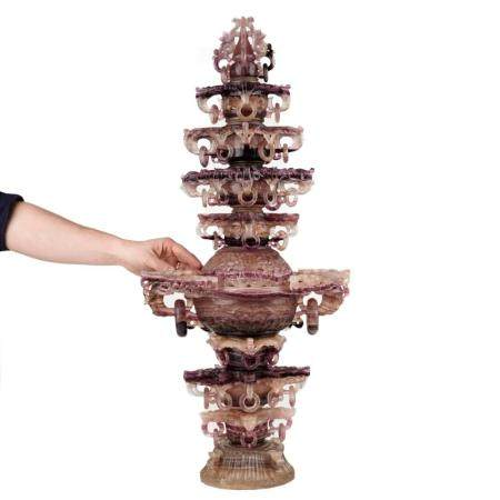 Massive Chinese Carved Fluorite Temple Urn