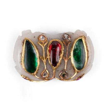19th c. Mughal Jade Pendant w/ Diamond Emerald Ruby