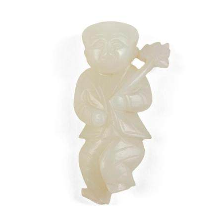 19th c. Chinese Carved White Jade Figure