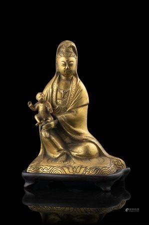 中國 十九世紀 鎏金銅送子觀音
