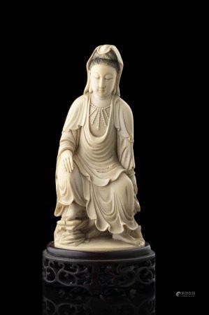 中國 二十世紀初 象牙雕觀音坐像