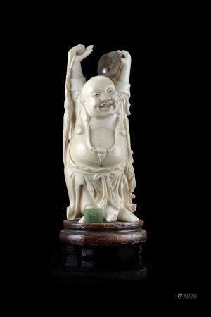 日本 十九世紀末 象牙雕布袋置物