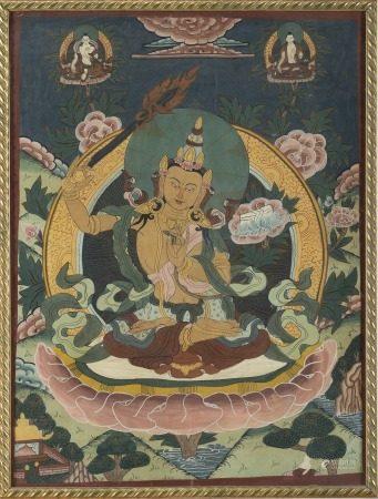 中國/西藏 清末 唐卡 一對