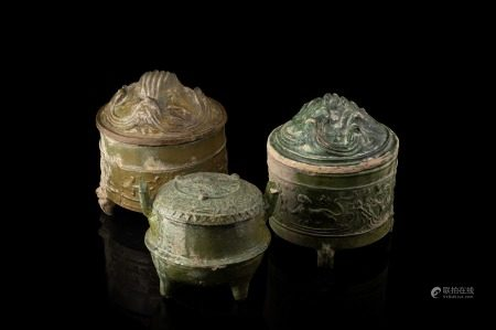 漢 綠釉蓋罐 三件