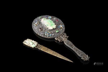 中國 二十世紀初 金屬嵌玉鏡子及鎮紙 共兩件