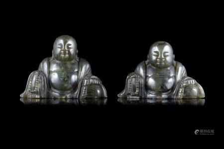 中國 二十世紀初 綠石雕佛像 兩件