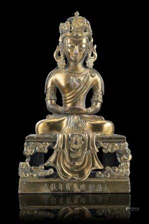 清 乾隆 銅阿彌陀佛坐像