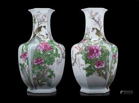 清 十九世紀下半葉 彩繪孔雀牡丹圖瓶 一對