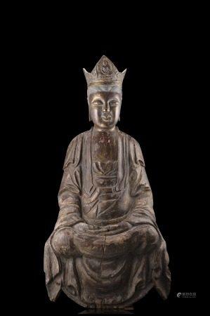 明 木雕觀音坐像