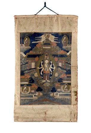 西藏 十九世紀中葉 觀世音菩薩唐卡